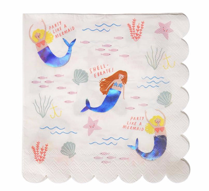 Let's Be Mermaids Paper Party Napkins by Meri Meri