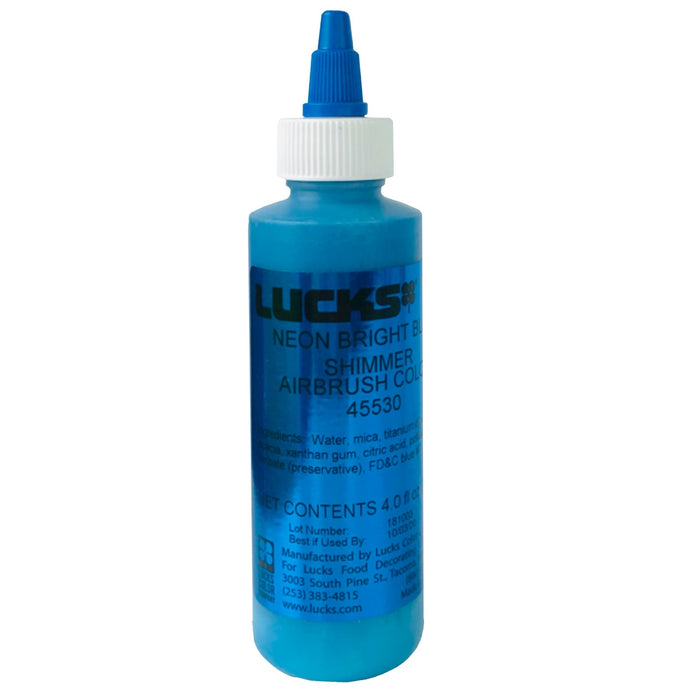 Lucks Airbrush Color- Neon Bright Blue Shimmer 4 oz.
