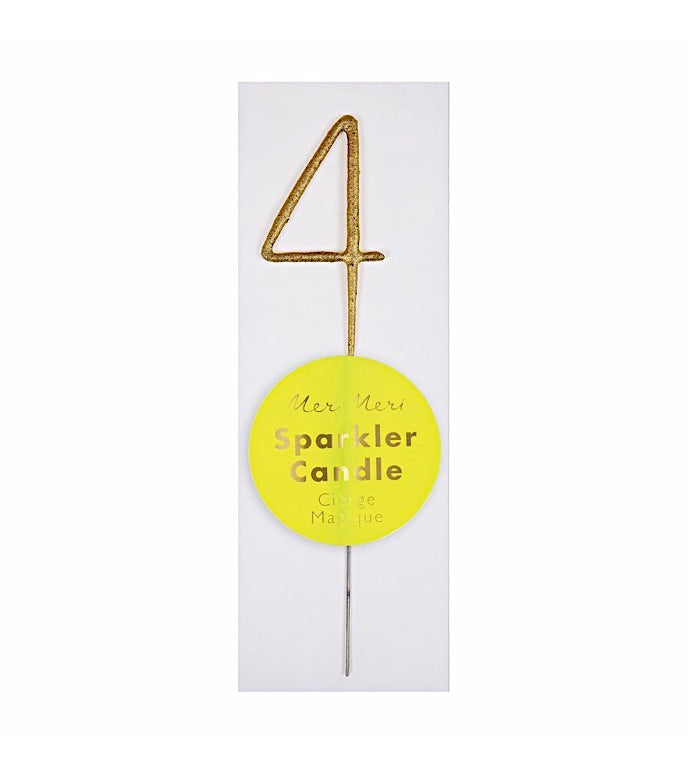 MINI Gold #4 Number Sparkler Birthday Candle