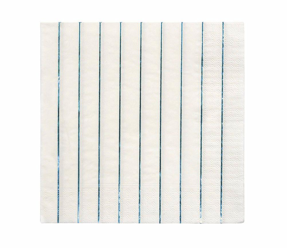 Metallic Blue Striped Paper Napkins, Meri Meri