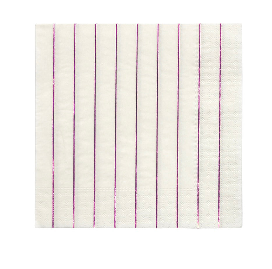Metallic Pink Striped Paper Napkins, Meri Meri