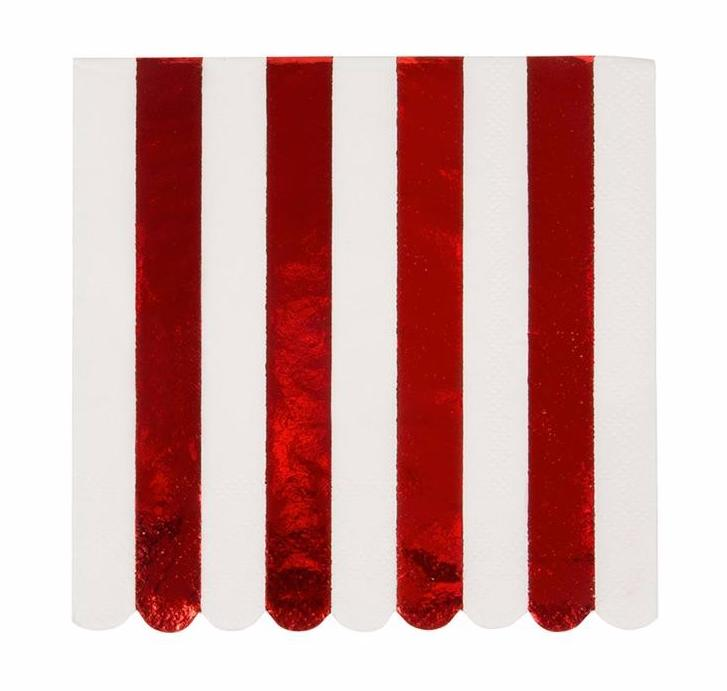 Red Foil Striped Paper Napkins, Meri Meri
