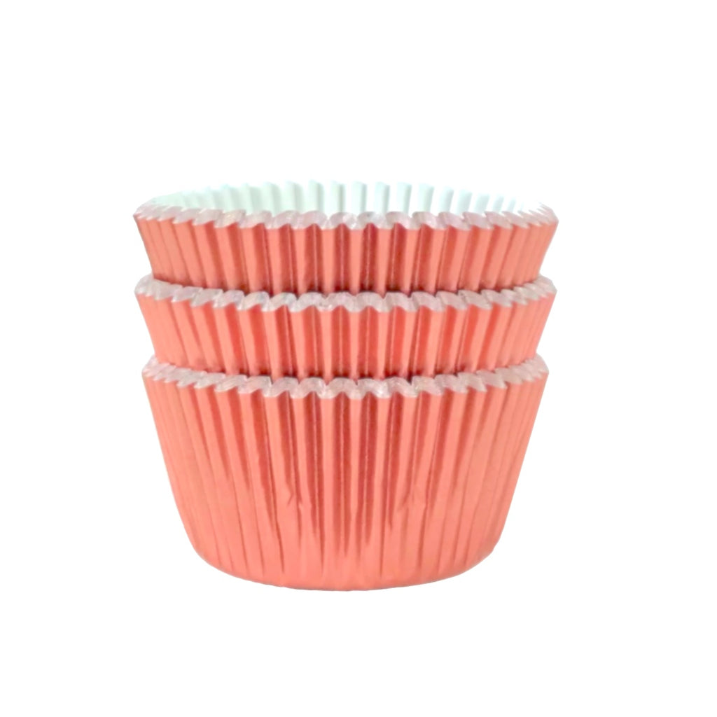 MINI Metallic Rose Gold Foil Cupcake Liners 50 ct.