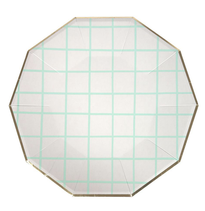 Mint Grid and Gold Paper Party Plates by Meri Meri