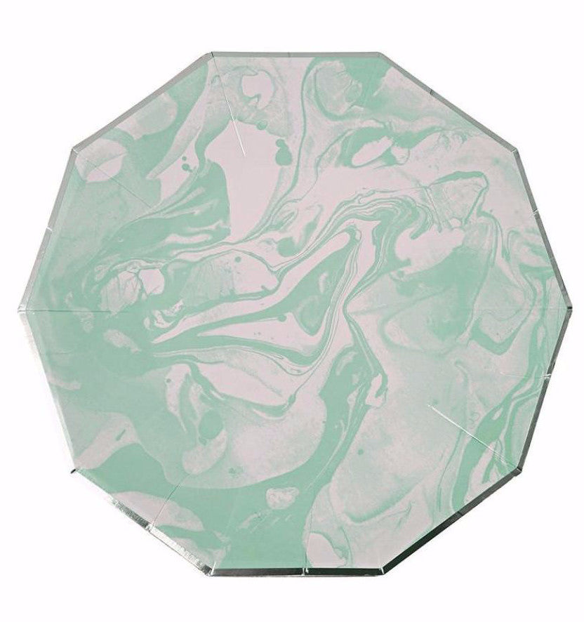 Mint Marble and Gold Paper Party Plates, Meri Meri