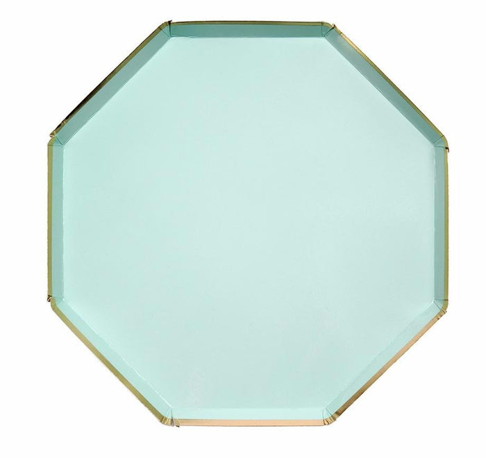 Mint and Gold Paper Plates