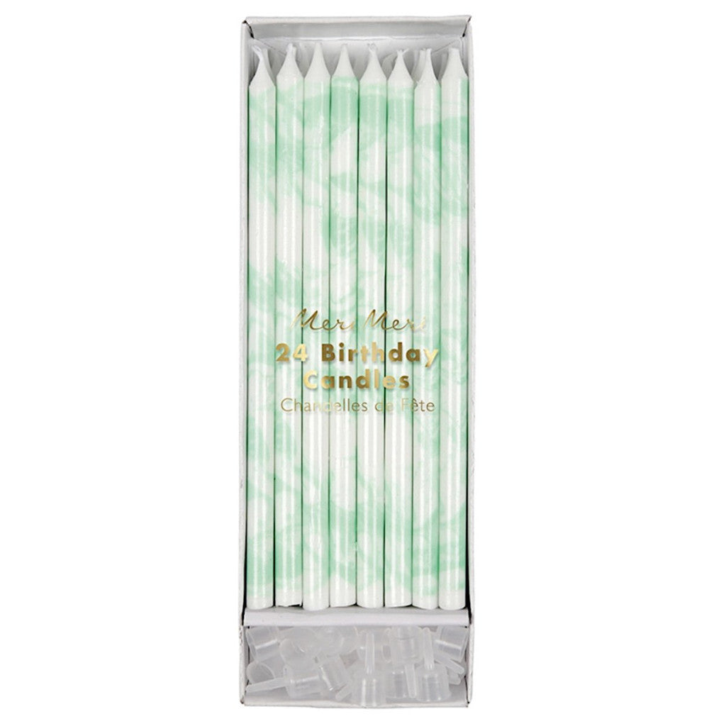 Tall Mint Marble Birthday Candles, Meri Meri