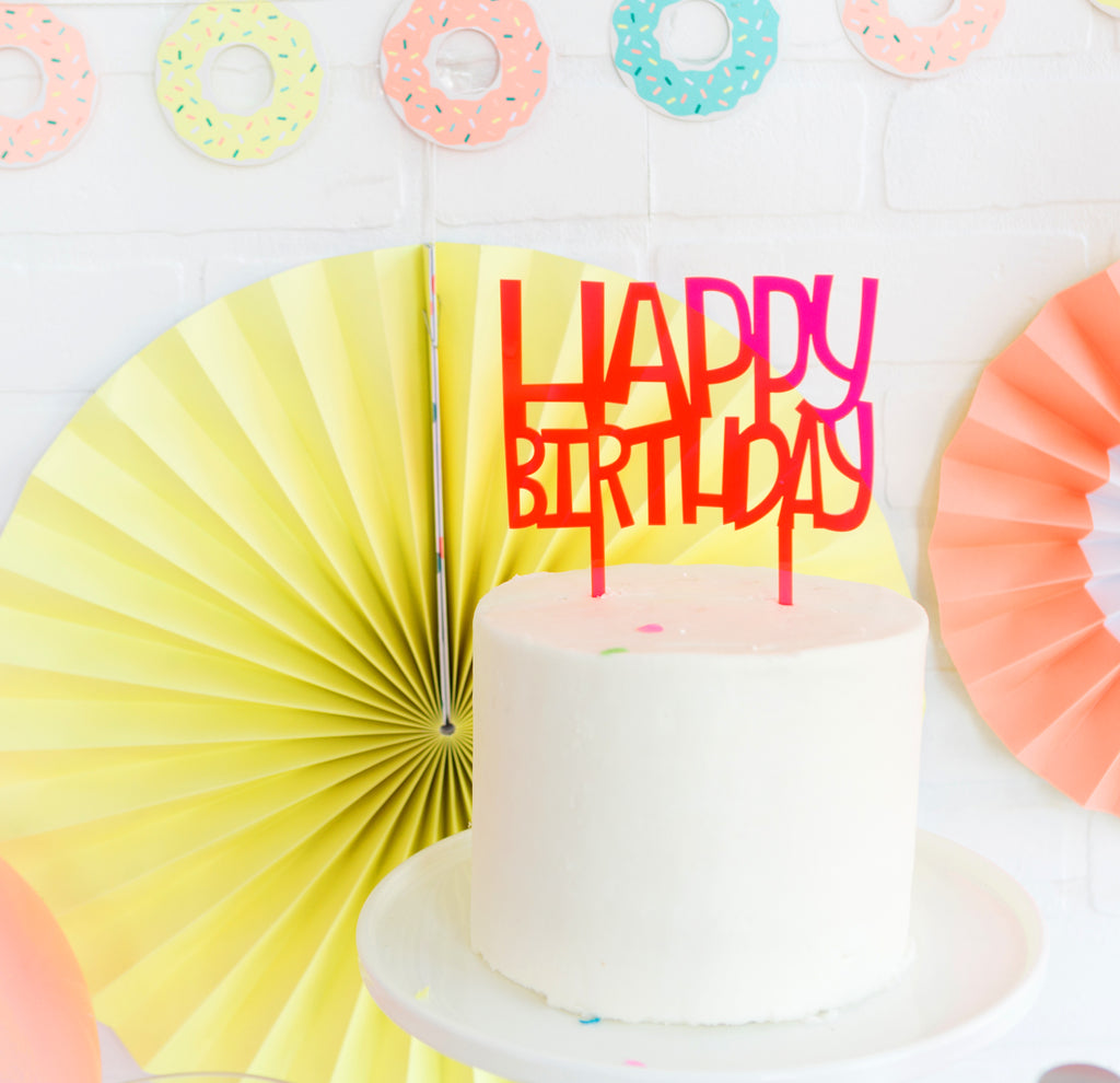 Neon Pink Acrylic Happy Birthday Topper