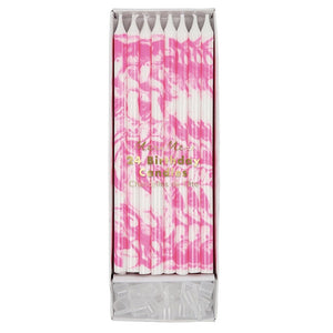 Tall Pink Marble Birthday Candles, 24 ct.
