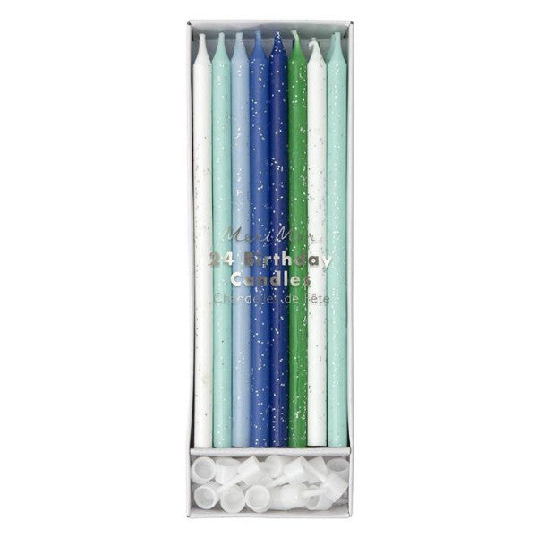 Tall Ombre Blue and Green, Silver Glitter Birthday Candles, 24ct.