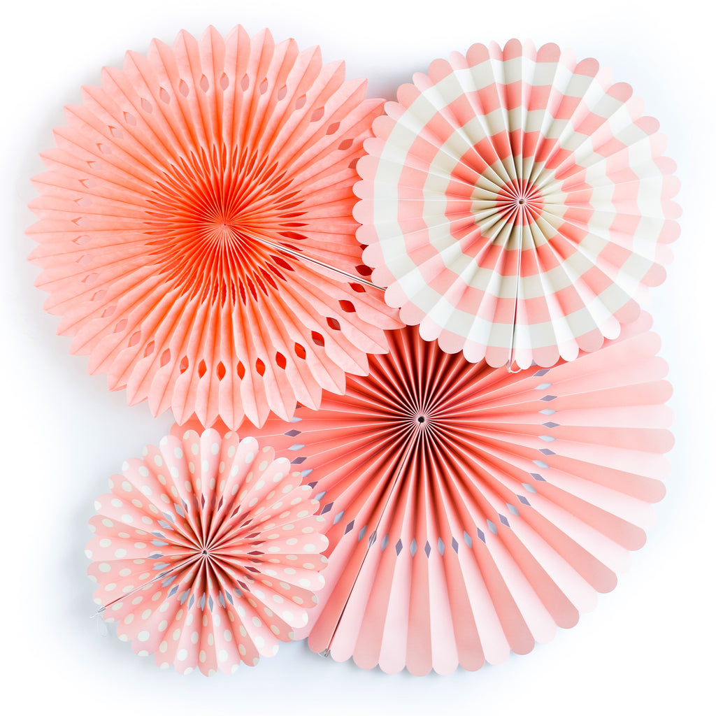 Coral Party Paper Fan Rosettes