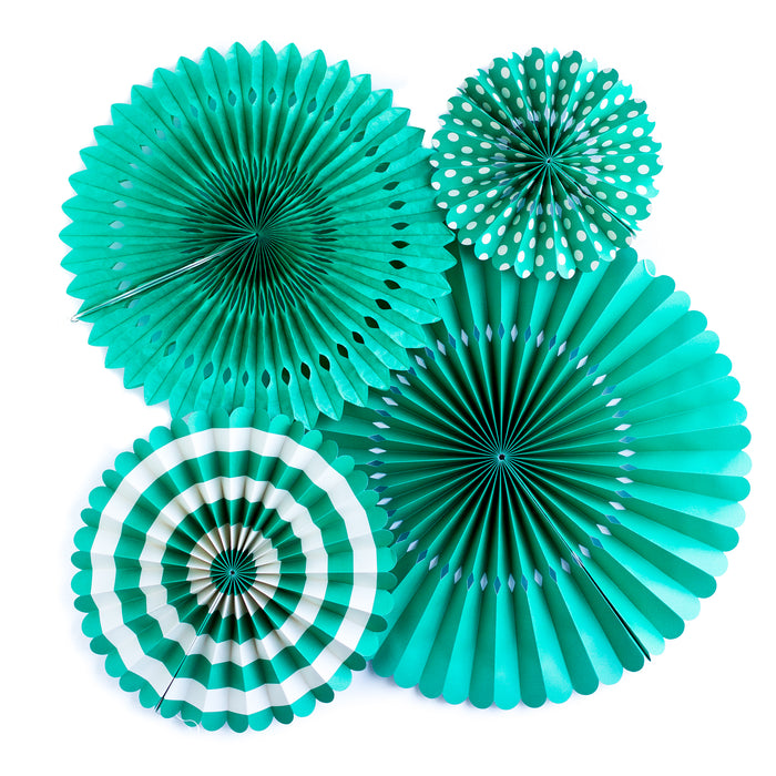 Teal Party Paper Fan Rosettes