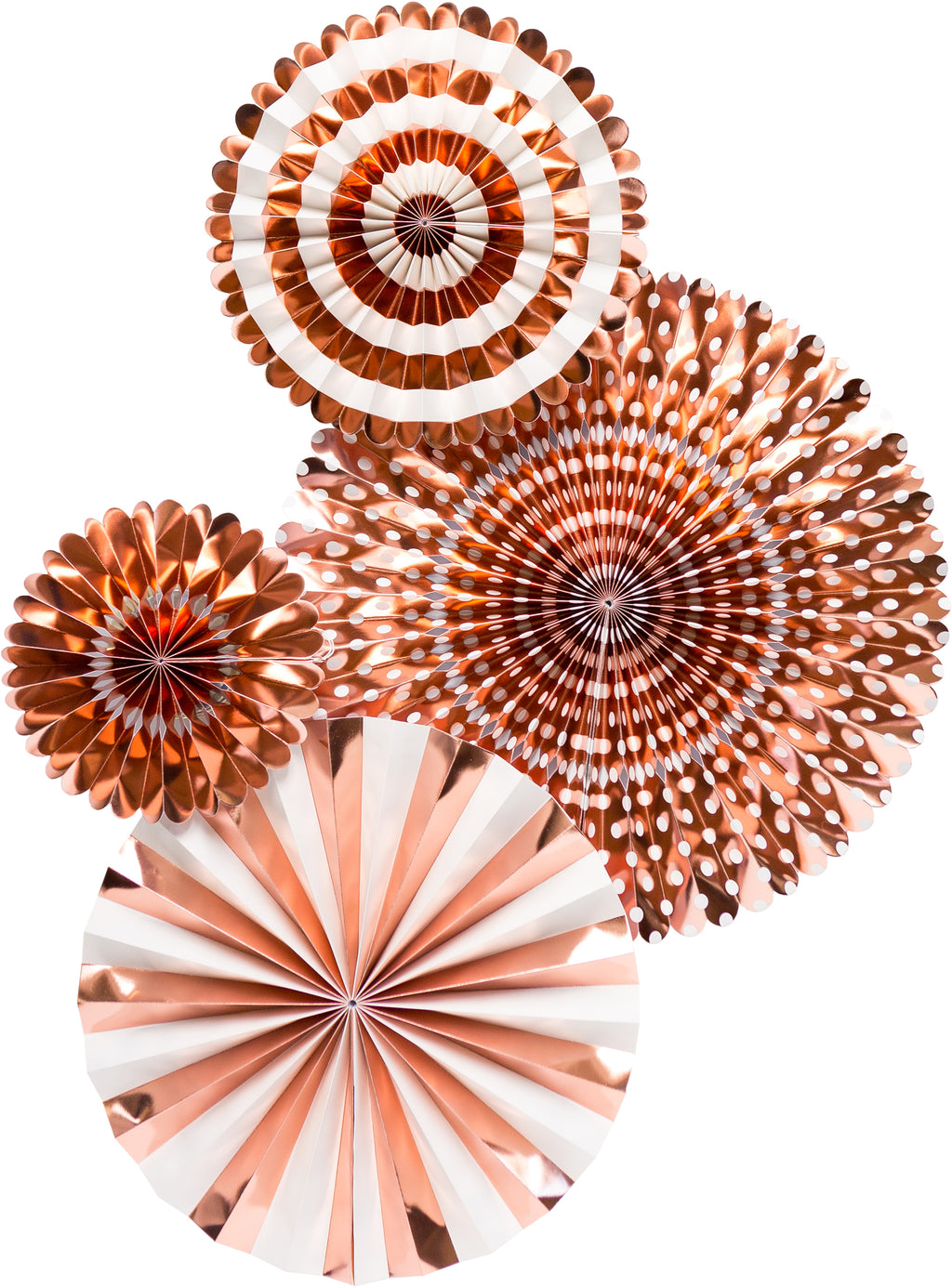 Rose Gold Party Paper Fan Rosettes