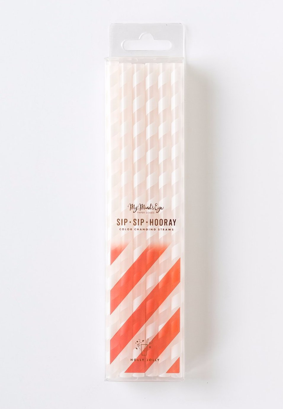 Jolly Red Striped Color Changing Straws