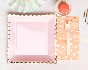 Blush Pink and Gold Paper Plates