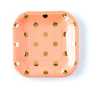Coral and Gold Polka Dot Paper Plates