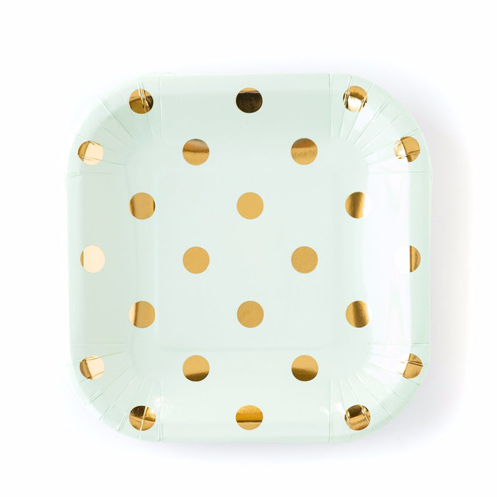 Mint and Gold Polka Dot Paper Plates