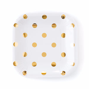 Cream and Gold Polka Dot Paper Plates