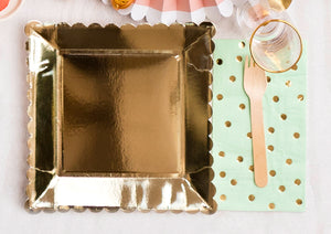 Mint and Gold Polka Dot Paper Napkins