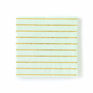 Mint and Gold Striped Paper Napkins