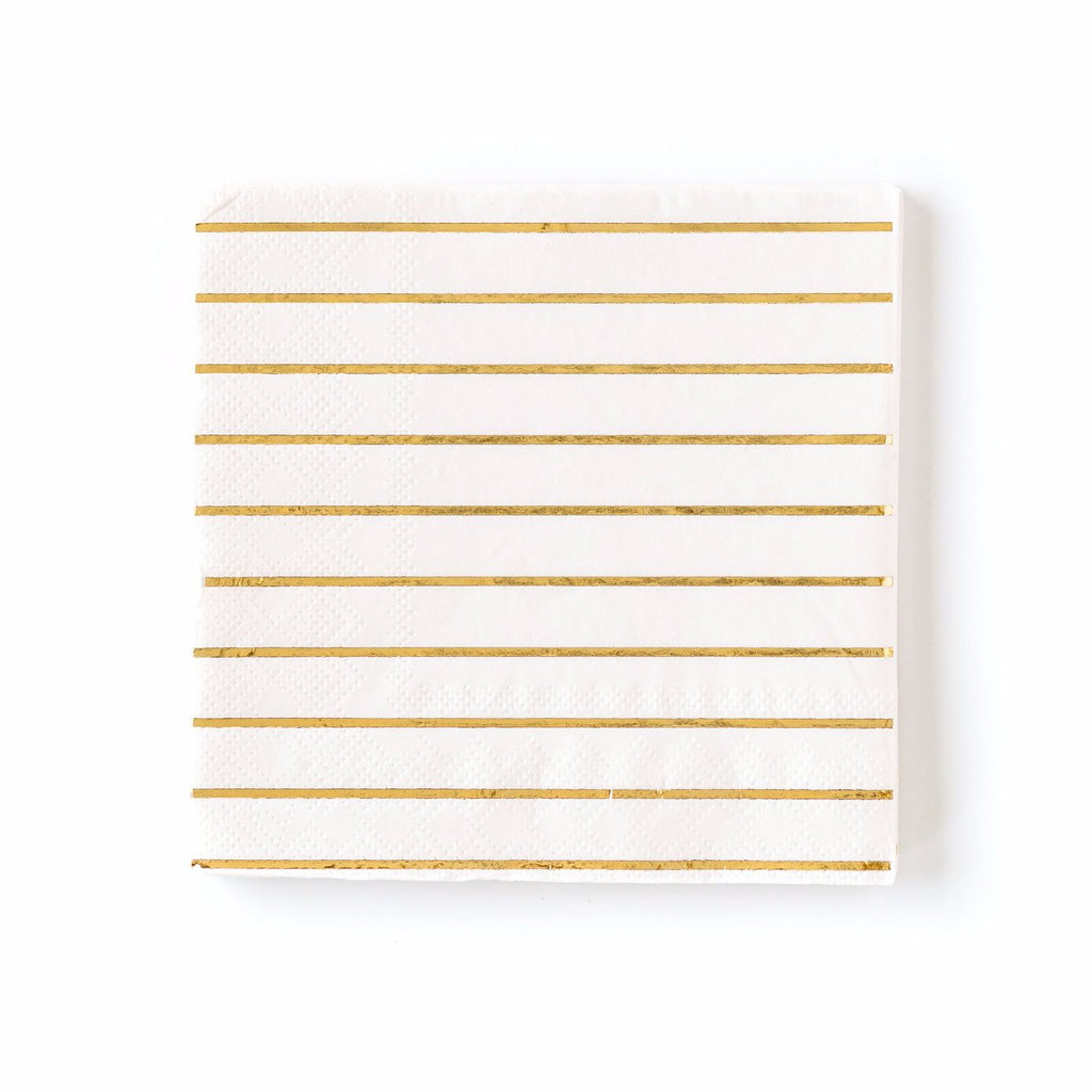 Cream and Gold Striped Paper Napkins