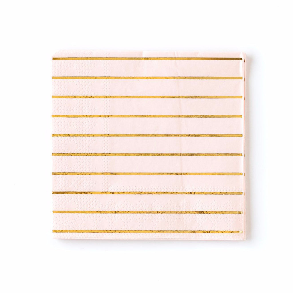 Blush Pink and Gold Striped Paper Napkins