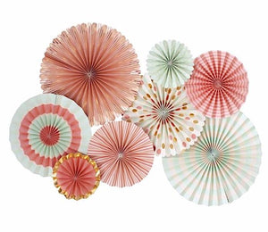 Coral and Mint Party Paper Fan Rosettes