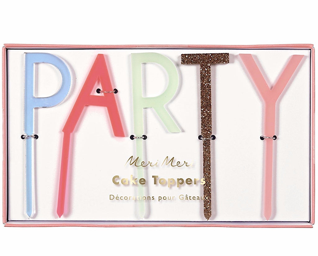 """PARTY"" Acrylic Letter Cake Toppers, Meri Meri"