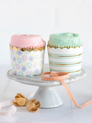 Pastel Flower and Foiled Stripes Baking Cups (50)