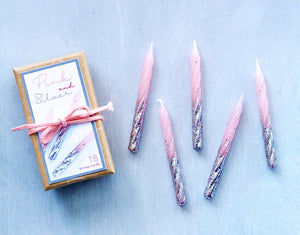 Petite Pastel Pink and Silver Twisty Birthday Candles, 18 ct.