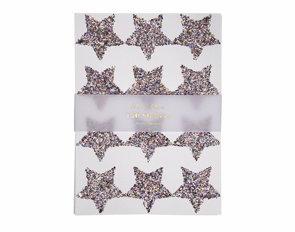 Rainbow Glitter Star Stickers, Meri Meri