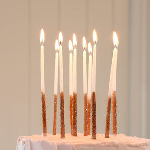 Tall, Skinny Rose Gold Glitter Dipped Birthday Candles, 12 ct.