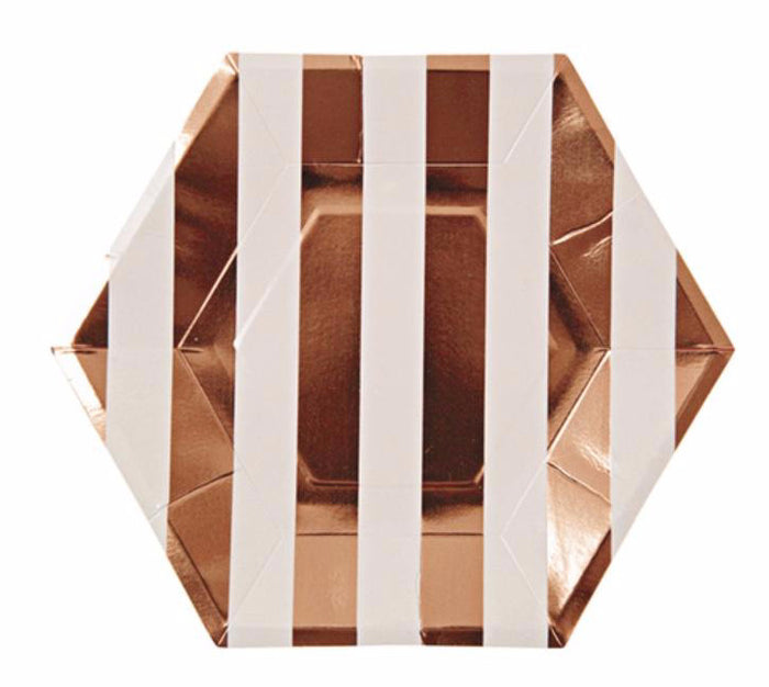Rose Gold Striped Paper Plates