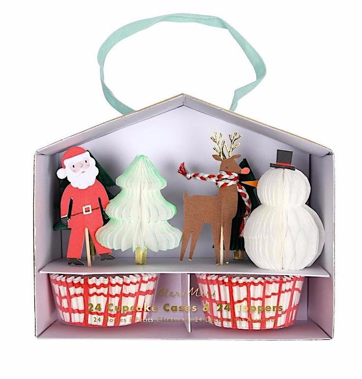 Santa and Reindeer Christmas Cupcake Kit, Meri Meri