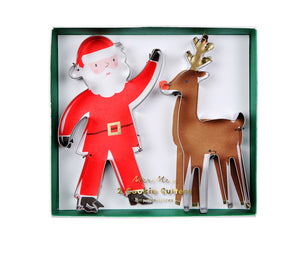 Santa and Rudolph Cookie Cutter Set, Meri Meri