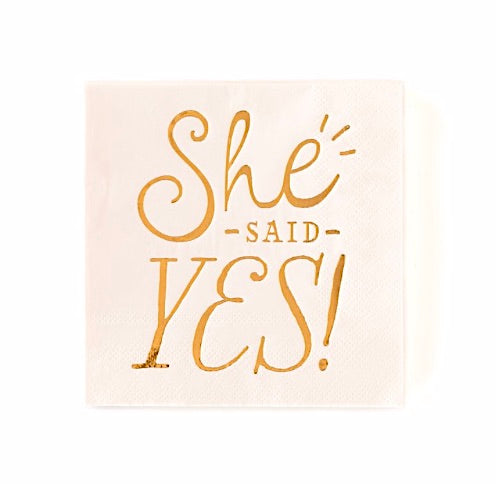 She Said Yes! Blush Bridal Shower Napkins