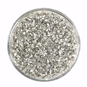 Pearlized silver crystal sugar