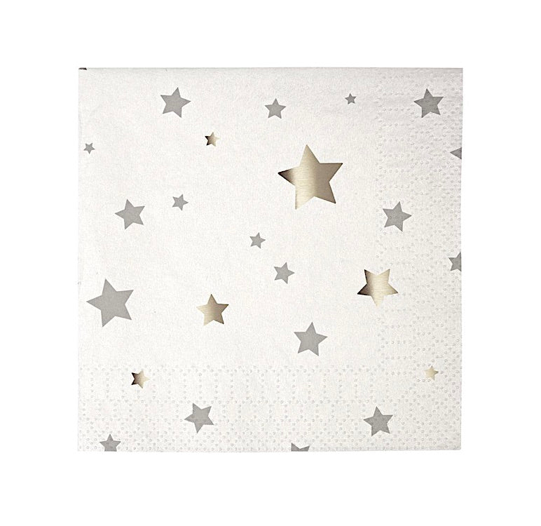 Toot Sweet Silver Stars Paper Party Napkins