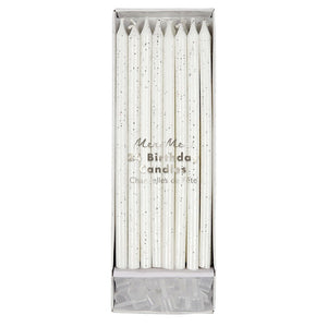 Tall Silver Glitter Birthday Candles, Meri Meri