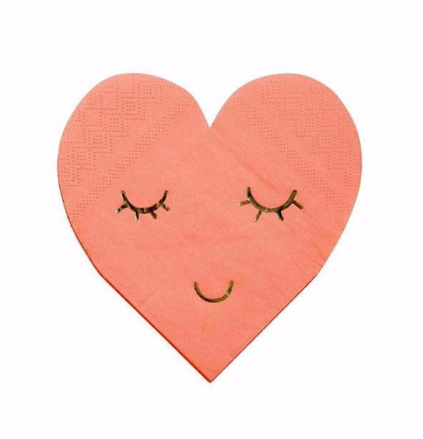Pink Smiley Heart Paper Napkins
