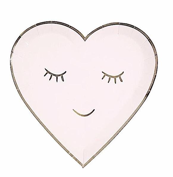 Pink Smiley Heart Paper Plates