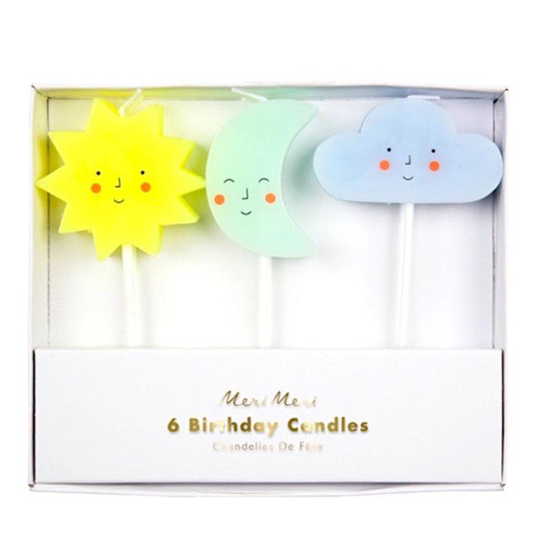 Sun, Moon, & Clouds Birthday Candles, Set of 6- Meri Meri