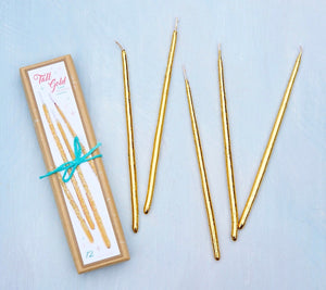 Tall Gold Birthday Candles, 12 ct. by Glitterville