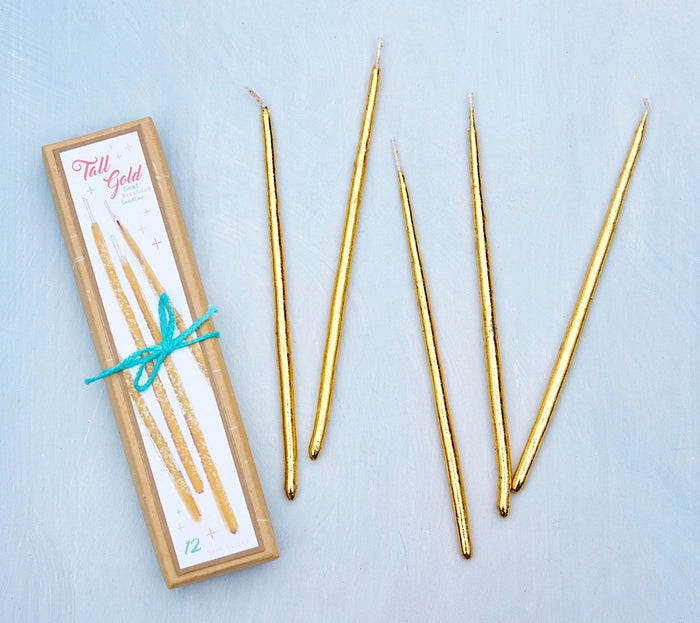 Tall Gold Birthday Candles, 12 ct.