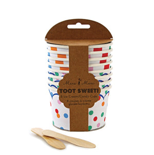 Toot Sweet Ice Cream Cups with Wooden Spoons , Meri Meri