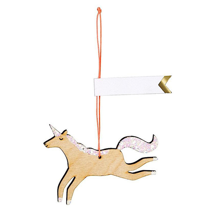 Wooden Glitter Unicorn Gift Tag