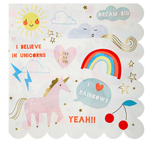 Unicorn and Rainbows Paper Party Napkins, Meri Meri