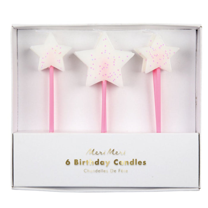 Glittery Star Birthday Candles, Set of 6