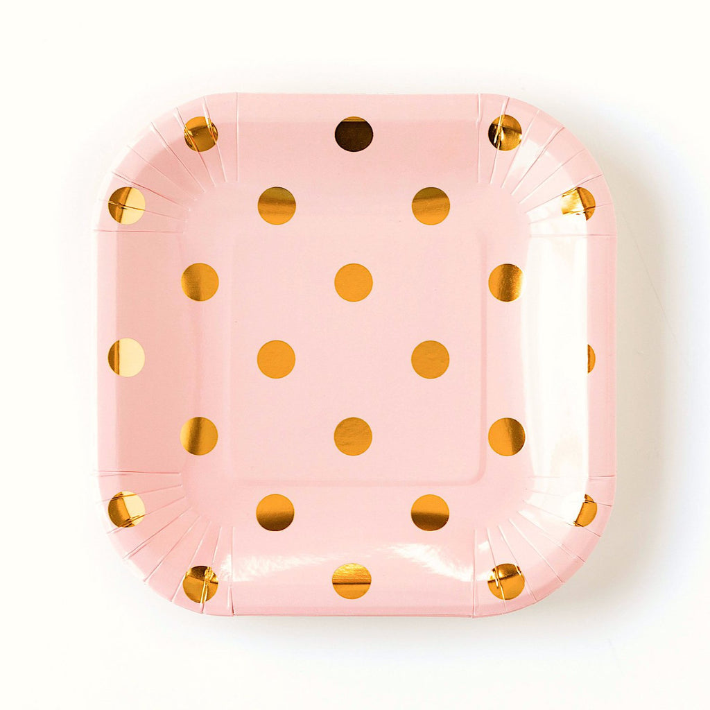 Blush Pink/ Peach and Gold Polka Dot Paper Plates