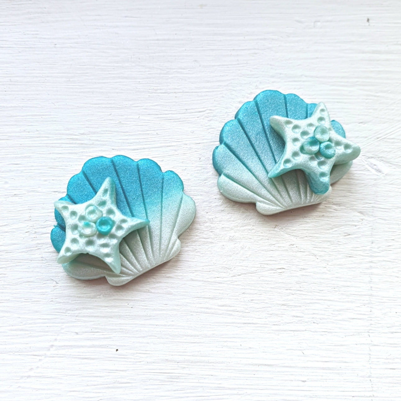 Treasures of the Sea Series Starfish on Shell Studs (Teal)